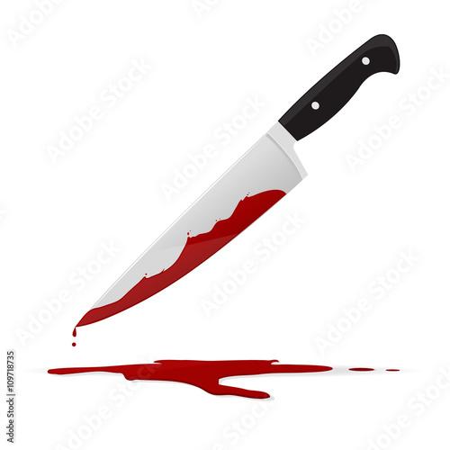 Fototapeta Bloody knife vector illustration