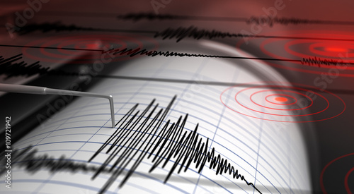 Tablou Canvas Seismograph and earthquake