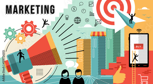 Fotografía  Marketing online concept design modern business