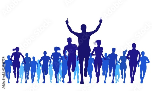 running sports and large groups silhouettes