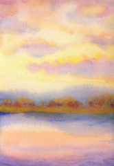 FototapetaWatercolor landscape. Sunset over lake