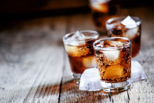 Alcoholic Cocktail Bourbon Cola With Whiskey And Ice Cubes, Vint