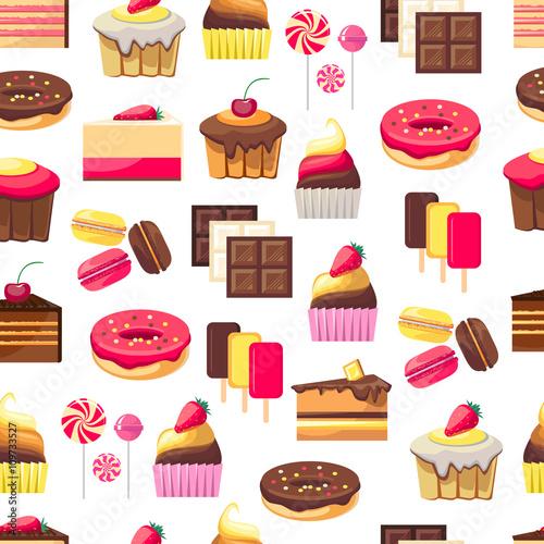 Materiał do szycia Wzór z obiektami słodki deser