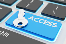 Safety Data Access, Computer Network Security, User Account Passkey, Accessibility And Authorization Concept, Metallic Key On Blue Keyboard Button Closeup View