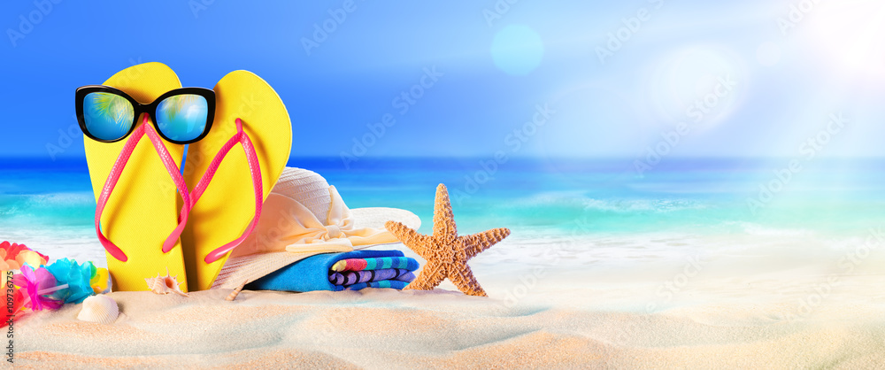 Fototapety, obrazy: Beach Accessories On Seashore - Summer Holidays