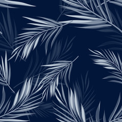 Naklejka Tropical seamless monochrome blue indigo camouflage background with leaves and flowers