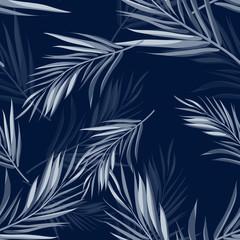 Fototapeta samoprzylepna Tropical seamless monochrome blue indigo camouflage background with leaves and flowers