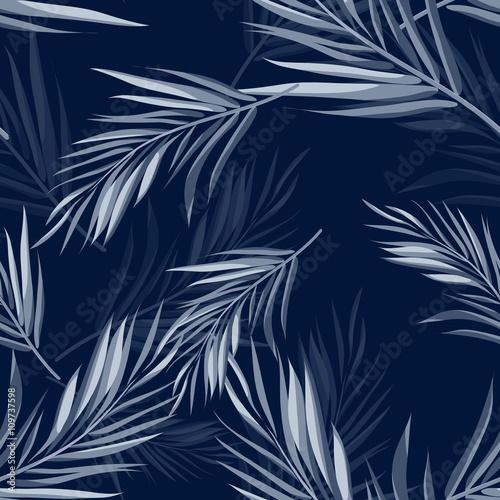 Tropikalny bezszwowe tło kamuflażu monochromatyczne niebieski indygo z liści i kwiatów