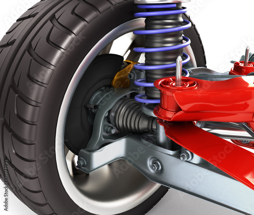 Stampa su Tela car suspension separately from the car isolated on white 3d illu