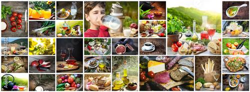 Lebensmittel: Collage aus Essen und Getränken