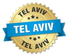 Tel Aviv Round Golden Badge With Blue Ribbon