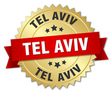 Tel Aviv Round Golden Badge With Red Ribbon