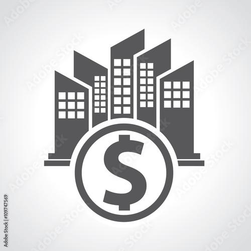 Obraz na plátně  Building and dollar sign concept
