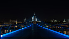 Millenium Bridge And St Paul's Cathedral In London