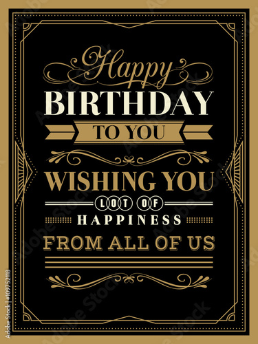 Vintage Happy Birthday Card Border And Frame Template Buy This