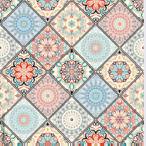 Cotton fabric Rich Colorful Tile Ornament