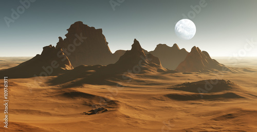 3D Fantasy desert landscape with crater
