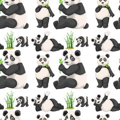Fototapeta Seamless panda and bamboo
