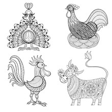 Cow, Chicken In Nest, Rooster, Turkey For Adult Coloring Page, Z