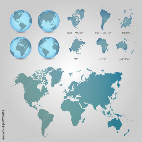Garden Poster World Map World Map with Globes detailed editable. Vector illustration.