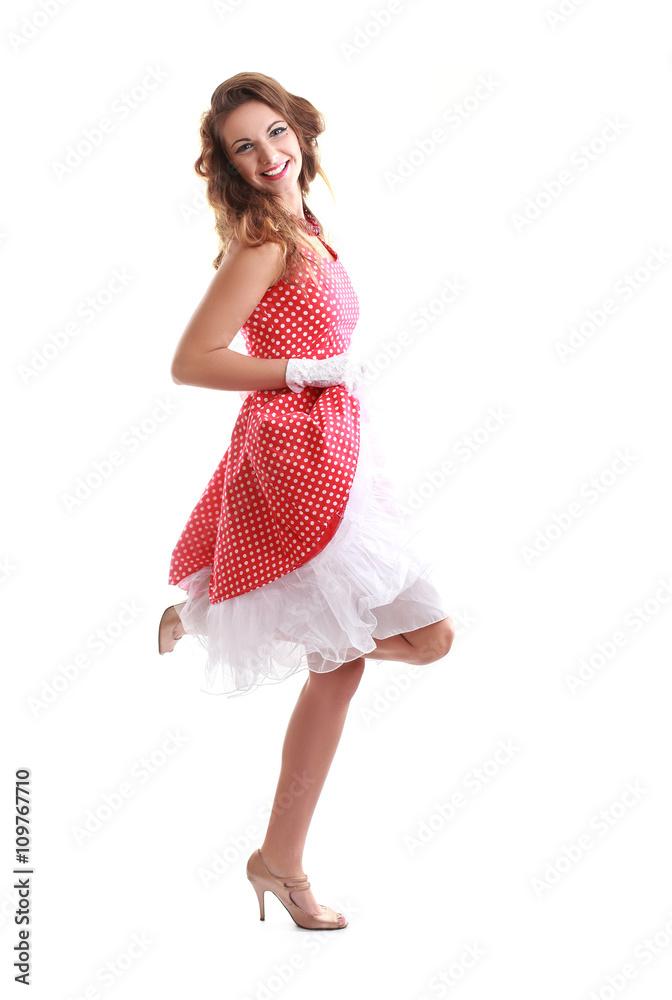 d740d6ba96cc woman in vintage dress Fotografia