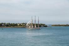 Three Masted Schooner Under Full Sails