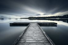 Wooden Jetty On Bombannes Lake...