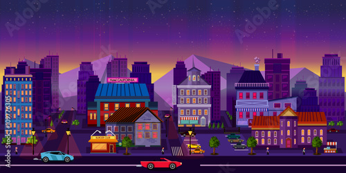Spoed Foto op Canvas Violet Night cityscape. Vector illustration.