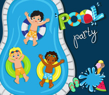 Pool Party For Boys.Vector Illustration.