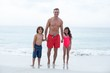 Father and children standing on sea shore at beach