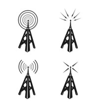 Vector Icon Illustration Of Old Communication Towers. Retro Wireless Communications Concept.