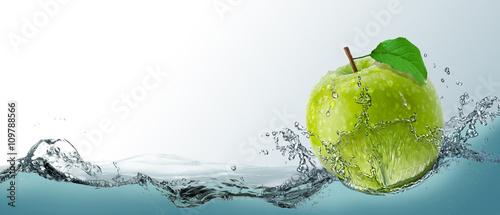 Postcard, ripe green apple fruit in a spray of water. Wallpaper Mural