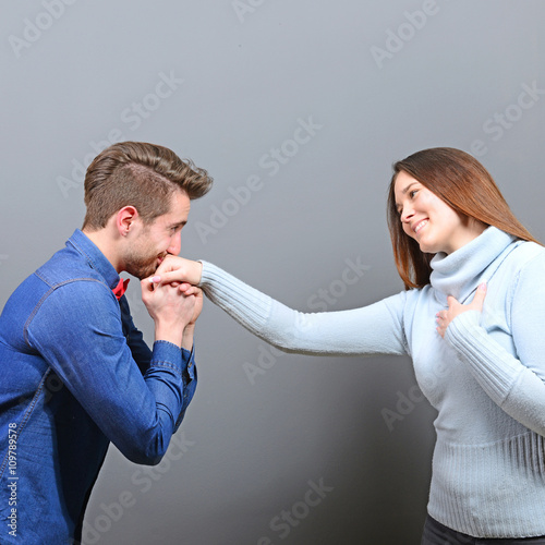 Fotografie, Obraz  Man kissing womans hand as a gentleman