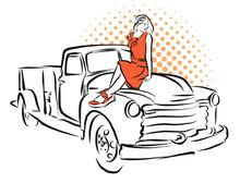Pin-Up Girl And Old Piuckup Sketch