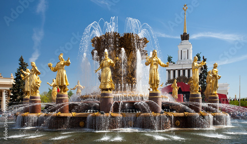 Autocollant pour porte Fontaine Exhibition of achievements of national economy. Moscow. Fountain Friendship of peoples