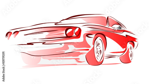 Spoed Foto op Canvas Cartoon cars Old Muscle Car, Vector Outline Colored Sketch