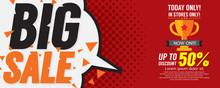 Big Sale 50 Percent 6250x2500 Pixel Banner Vector Illustration.