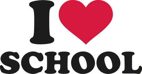 FototapetaI love school with heart