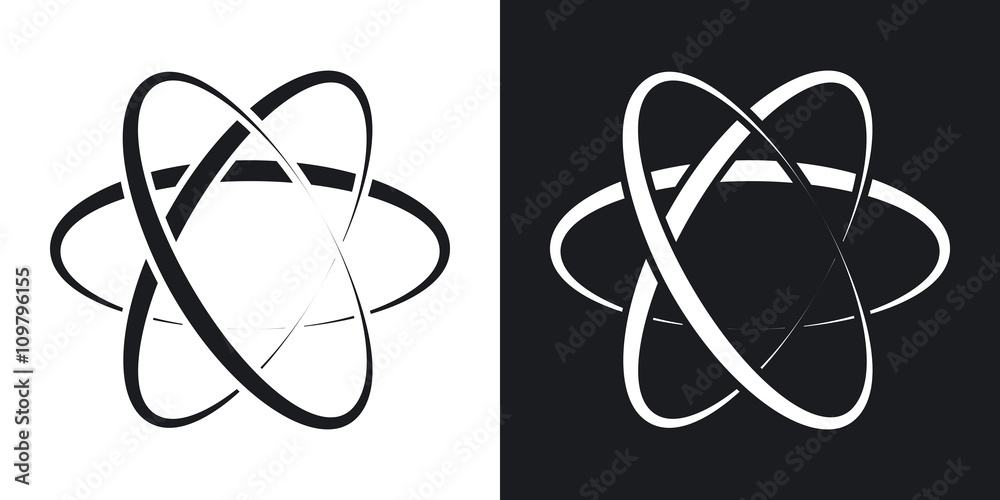 Fototapeta Vector atom icon. Two-tone version on black and white background
