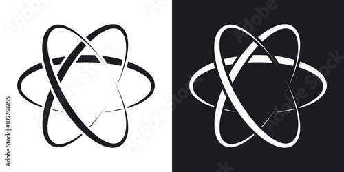 Tela Vector atom icon. Two-tone version on black and white background