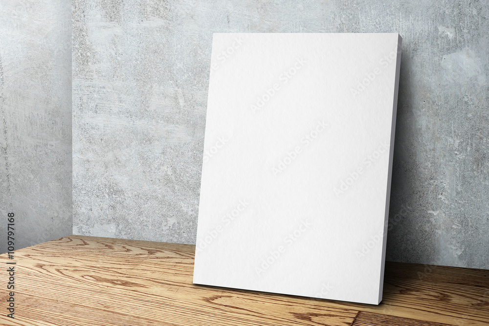 Fototapety, obrazy: Blank white canvas frame leaning at concrete wall and wood floor