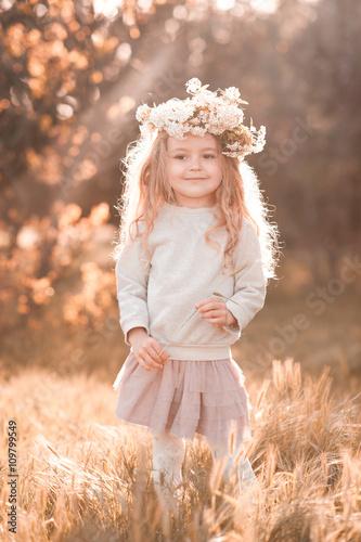 Cute baby girl 4-5 year old walking in park wearing flower ...  Cute baby girl ...