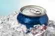 close-up shot of blue cola can.