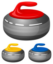 Vector Illustration Of Curling Stones In Assorted Colors.