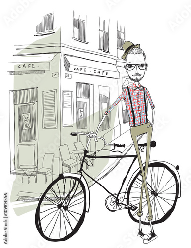 Tuinposter Art Studio Bicycle Illustration WIth Hipster Man Character