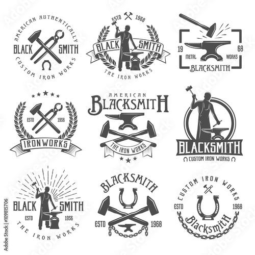 Cuadros en Lienzo Blacksmith Graphic Vintage Emblems