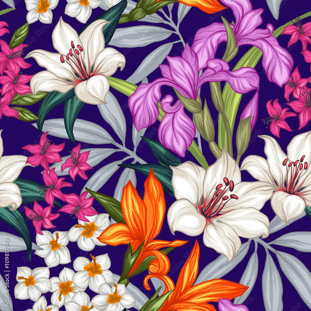 Egzotyczny wzór z tropikalnych liści i kwiatów. Kwitnąca dżungla. Ilustracji wektorowych