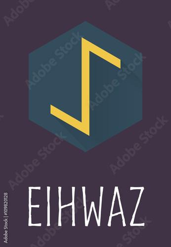 Photo  Eihwaz rune of Elder Futhark in trend flat style.