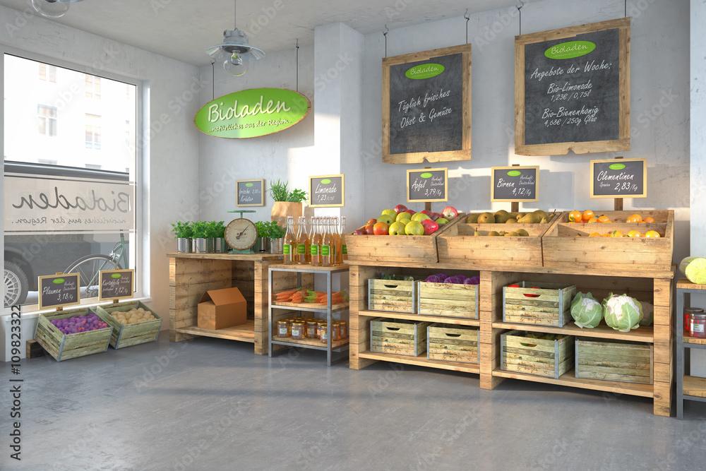 Fototapety, obrazy: Bioladen - mit einer Auswahl an frischen Obst und Gemüse.