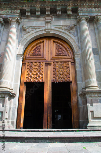 Wooden Door Leading Into Beautiful Church Of Guapulo Located In